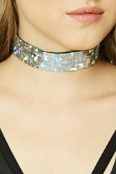Forever 21 Holographic Grid Choker Silver Multi