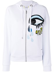 Iceberg Sequins Eye Zip Up Hoodie White
