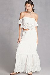 Forever 21 Eyelet Tube Top And Skirt Set White