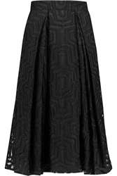 Milly Burnout Cotton Blend And Silk Organza Midi Skirt Black