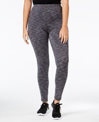 Ideology Plus Size Space Dyed Lined Leggings Only At Macy's Deep Charcoal