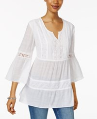 Style And Co Petite Tiered Crochet Tunic Only At Macy's Bright White