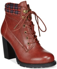 Dolce By Mojo Moxy Outfitter Lace Up Booties Women's Shoes Ruby Red