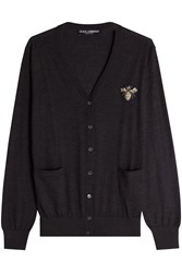 Dolce And Gabbana Cashmere Cardigan With Embellished Motif