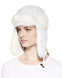 Surell Quilted Fur Trim Trapper Hat White