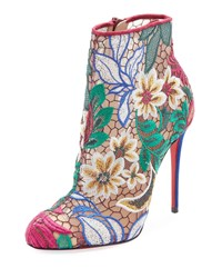 Christian Louboutin Miss Tennis Embroidered Red Sole Bootie Multi