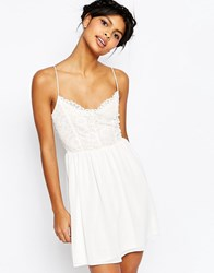 Asos Lace Top Chiffon Skater Dress Ivory Cream
