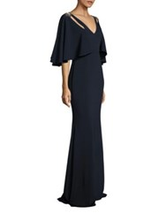 Badgley Mischka Cutout Cape Gown Navy
