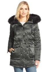 Bcbgeneration Quilted Satin Parka With Removable Faux Fur Trim Green