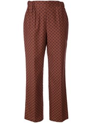 Muveil Lips Print Straight Trousers Brown