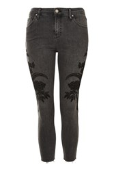 Topshop Petite Sketch Embroidered Jamie Jeans Black