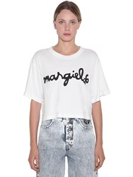 Maison Martin Margiela Cropped Logo Cotton Jersey T Shirt White