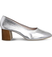 Office Mia Metallic Leather Heeled Ballet Shoes Silver Leather