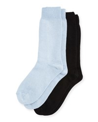 Neiman Marcus Two Pair Cashmere Blend Socks Black Blue