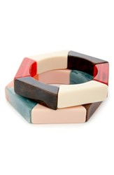 Sole Society Set Of 2 Hexagonal Stretch Bangles Multi