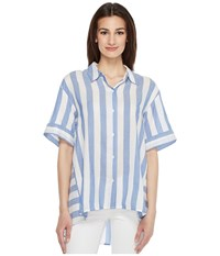 Vince Camuto Bold Stripe Oversized Button Down Shirt Stormy Blue Women's Clothing