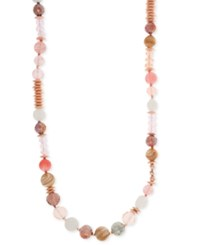Lonna And Lilly Rose Gold Tone Long Pink Beaded Necklace
