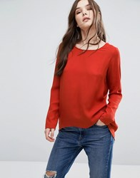 Vila Long Sleeve Dip Hem Top Ketchup Red