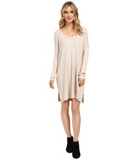 Culture Phit Charlie Long Sleeve Waffle Dress Oatmeal Women's Dress Brown
