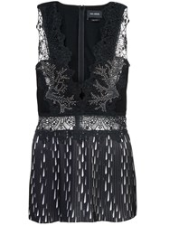 Yigal Azrouel Studded Coral Embroidery Pleated Top Unavailable