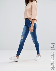 Missguided Tall Sinner Highwaisted Distressed Skinny Jean Blue