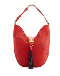 Badgley Mischka Bailey Pebbled Leather Hobo Bag Red