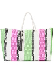 Truss Nyc Striped Tote Bag Women Plastic One Size White