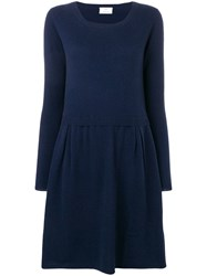Allude Round Neck Sweater Dress Blue
