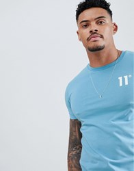 11 Degrees Muscle Fit T Shirt In Light Blue With Logo