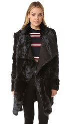 Yves Salomon Reversible Long Shearling Jacket Black