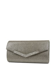Jessica Mcclintock Ashley Lurex Rhinestone Flap Convertible Clutch Champagne