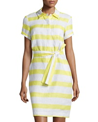 Neiman Marcus Striped Linen Shirtdress Yellow White