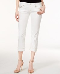 Rock Revival Cropped Embellished White Wash Capri Jeans