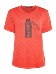 Replay T Shirt With Contrast Print Red