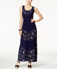 Ny Collection Solid Lace Detail Maxi Dress Navy Daisy