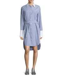 Rag And Bone Essex Striped Belted Shirtdress With Contrast Trim Blue White Blue Pattern