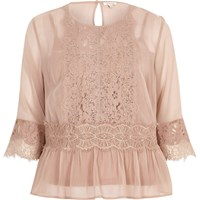 River Island Womens Dark Nude Chiffon Lace Detail Blouse