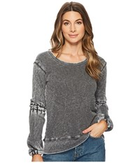 Allen Allen Lantern Sleeve Shirt With Ruffle Black Long Sleeve Pullover