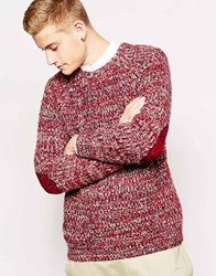 Brave Soul Twisted Yarn Chunky Knit Jumper Red