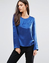 Sisley Long Sleeve Blouse With Pocket Blue