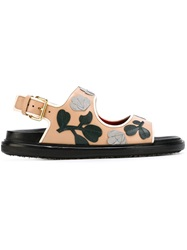 Marni Flower Applique Sandals Pink And Purple