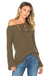 Pam And Gela Shredded Wavy Sweep Sweater Army