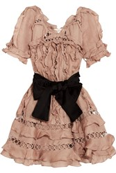 Zimmermann Winsome Guipure Lace Paneled Ruffled Silk And Linen Blend Mini Dress Antique Rose