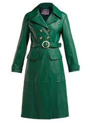 Alexachung Double Breasted Belted Leather Trench Coat Green
