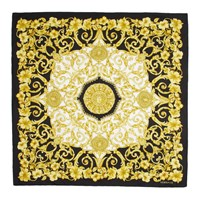 Versace Black And Gold Hibiscus Scarf