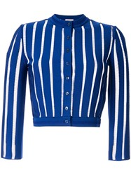 Alexander Mcqueen Stitched Stripes Cropped Cardigan Blue