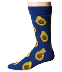 Socksmith Avocado Royal Blue Crew Cut Socks Shoes
