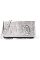 Mcq By Alexander Mcqueen Embossed Metallic Cracked Leather Shoulder Bag Silver