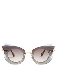 Miu Miu Butterfly Frame Sunglasses Grey Multi