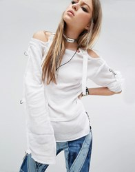 Tripp Nyc Gauze Punk Top White